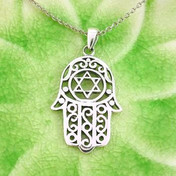 Hamsa Hand Necklace With Star of David