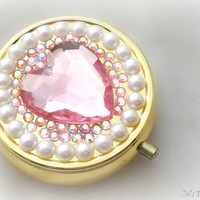 Pink Heart rhinestone pill box, deco pill case, decoden case, gift for her
