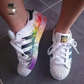 """Adidas"" Womens Mens Color Graffiti Casual Running Sport Shoes Sneakers"
