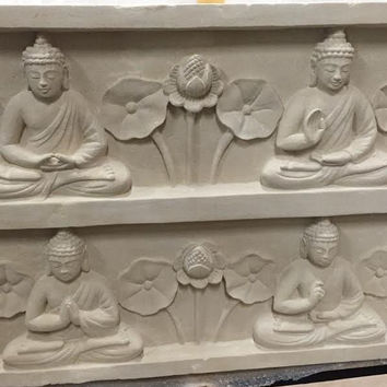 Four Buddhas Stone Wall Carving