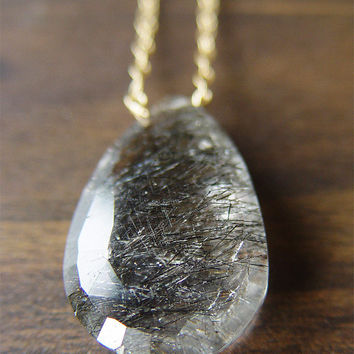 Black Rutilated Quartz Gold Necklace