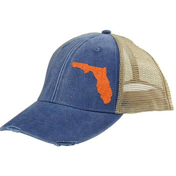 Florida Trucker Hat - Distressed Snapback -off-center state