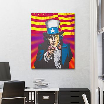 Uncle Same Wants You Abstract Wall Art Canvas (Wood Frame Ready To Hang)