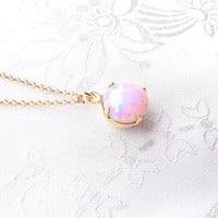Opal Necklace, Fire Opla Necklace, Birthstone Jewelry, October Birthstone, Fire Opal, Pink and Gold Necklace, Gift For Her