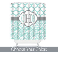Damask Quatrefoil Shower Curtain Monogram Name CUSTOM Choose Colors Aqua Gray Pattern Bathroom Bath Polyester Made in USA