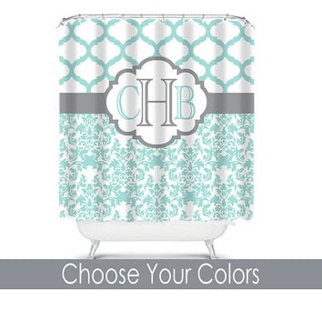 Grey And Turquoise Shower Curtain. Damask Quatrefoil Shower Curtain Monogram Name CUSTOM Choose Colors Aqua  Gray Pattern Bathroom Bath Polyester Made Shop Custom Curtains on Wanelo