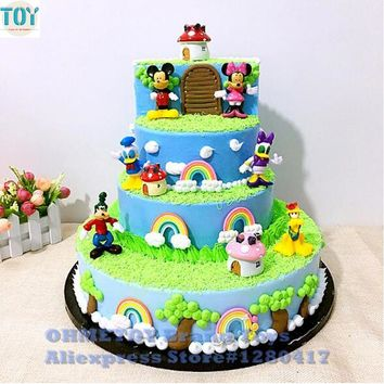 New 6pcs Mickey Mouse Minnie Goofy Donald Duck Pluto Clubhouse Action Figures Playset Cartoon Figurine Cake Toppers Gift