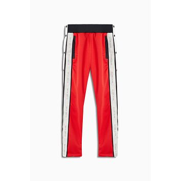 snap track pant / red + black + ivory
