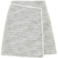 Wrap Front Boucle Skirt - Monochrome