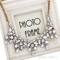 New Fashion Luxury Multi Clear Crystal Drop Flower Statement Choker Bib Necklace = 1946954628