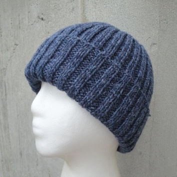 Denim Blue Hat, Knit Beanie, Watch Cap, Pure Wool, Teens Hat, Adult Hat, Warm Winter Wool Hat, Knit Hat Men