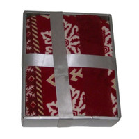 Plush Throw Red Snowflake Micro Fleece Throw Blanket with Faux Fur Trim