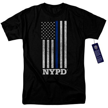 NYPD Mens T-Shirt Thin Blue Line American Flag Black Tee