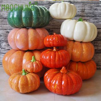 Halloween Decorative Artificial Orange White Large Big Pumpkin For Fall Thanksgiving Decorating Pops Display 20-32cm MOOCHUNG