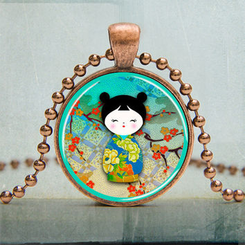Kokeshi Japanese Doll Art Pendant Photo Pendant by backbonestudio2