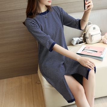 Making new 2016 fall fashion in the half sleeve sweater five Pinstripe split sleeve head