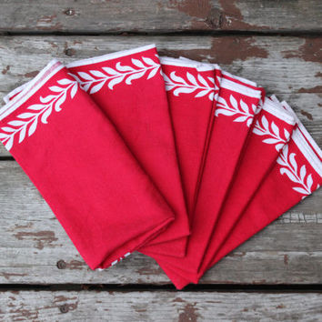 Vintage Set of Six (6) Red and White Napkins with Detail | Wedding Gift | Kitchen Linens