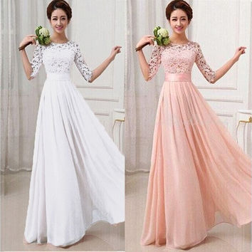 Women Lace Chiffon Prom Ball Cocktail Party Long Dress Formal Evening Gown