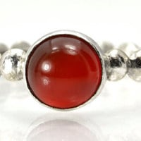 Stacking Ring in Carnelian, Red Carnelian Cabochon Ring with Sterling Bead Band