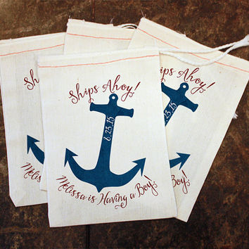 Baby Shower Favor Bags - Ships Ahoy Having a Boy / Girls Party Favor / 5x7 Muslin Bag / Womens Nautical Baby Shower Decor / Guest Gift Bag