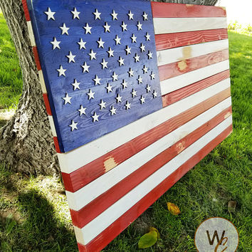 "ON SALE Rustic Wood American Flag Sign, 24"" x 36"" Sign, Patriotic House Sign, Rustic USA Flag, American Flag Yard Art, Made to Order, Free S"