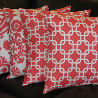 """Decorative Pillows CORAL Throw Pillows FOUR 20 inch Pillow Covers Suzani, Chain Link 20"""" salmon pink, white"""
