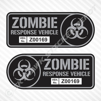 Zombie Response Vehicle Sticker Set Label Badge Gun Metal Vinyl Decal Walking Dead Sticker Car Truck Sticker JDM Decal Fit Honda Civic