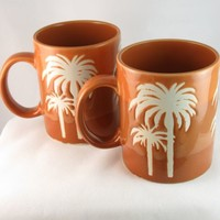 Palm Tree Etched Stoneware Coffee Mugs Tropical Tiki Bar Unique Glaze Lot of 2