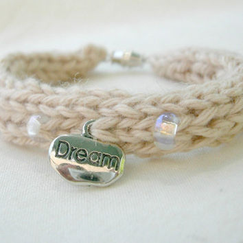 Natural Organic Bracelet / Boho Style / Beach Inspired / Glass Beads and Dream Charm
