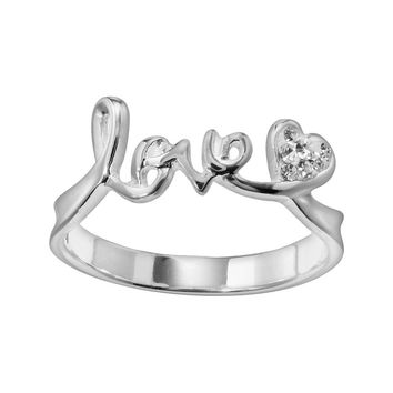 Silver Plate Crystal Love Ring (Brass/Silver/White|)