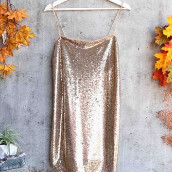 free people - time to shine sequin mini slip dress - gold