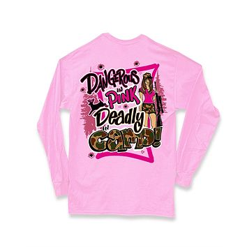Sweet Thing Dangerous in Pink Deadly in Camo Hunt Deer Long Sleeve Bright Girlie T-Shirt