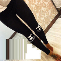 Winter Alphabet Print Sports Women's Fashion Leggings [6698331015]