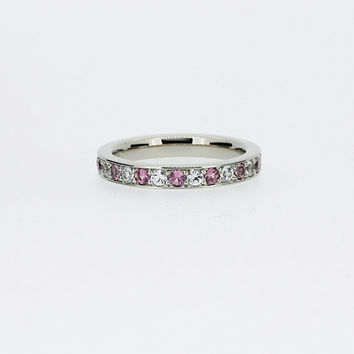 Pink sapphire and diamond wedding band, half eternity ring, white gold, yellow gold rose gold, pink wedding, diamond ring, engagement