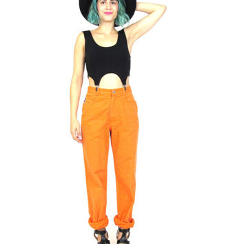 90s High Waist Orange Mom Jeans Hip Hop FILA Club Kid Rave Pants Bright Colored Denim Sportswear (S)