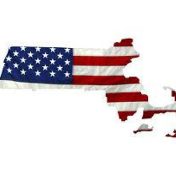 State of Massachusetts Realistic American Flag Window Decal - Various Sizes