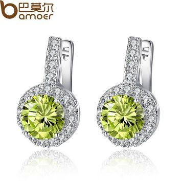 Real Silver Color Stud Earrings with Yellow AAA Zircon For Women Jewelry YIE076