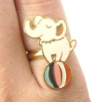 Handmade Elephant Circus Animal Themed Adjustable Ring | Limited Edition
