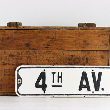 Street Sign, Vintage Street Sign, 4th Ave, Black And White Street Sign, Old Street Sign, Metal Street Sign, Rustic Decor, Industrial Decor