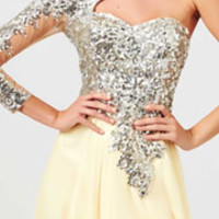 (PRE-ORDER) Mac Duggal 2014 Prom Dresses - Buttercup Sequin Embellished Long Sleeve Prom Dress
