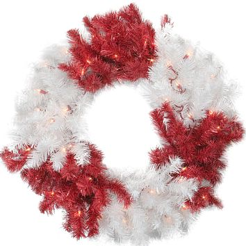 "26"" Poinsettia Berry and Pine Cone Artificial Christmas Wreath Unlit"