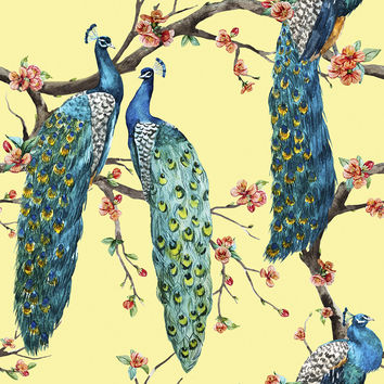 Victorian Peacock - Yellow Removable Wallpaper