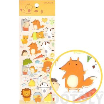 Adorable Dogs Lions and Foxes Shaped Animal Jelly Stickers for Scrapbooking