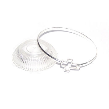 Cross Bracelet, Silver Hinged Bangle Cuff