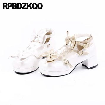 Ankle Strap Strappy Size 4 34 Cute Thick Ladies Pumps Medium Heels Cross Blue White Bow Round Toe Sweet Platform Lolita Shoes