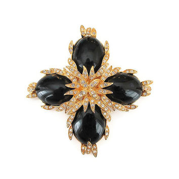 Joan Rivers Brooch, Maltese Cross, Rhinestone Brooch, Black Lucite, Large Chunky, Statement Jewelry, Vintage Brooch, Vintage Jewelry