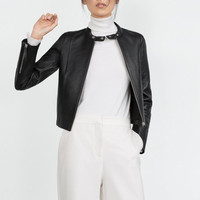 Black Faux Leather Stand Collar Zippered Jacket
