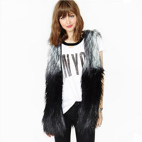 Personality Fashion Multicolor Stitching Imitation Fur No Buckle Vest Jacket