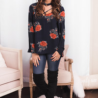 Make You Mine X Chest Floral Choker Top (Navy)