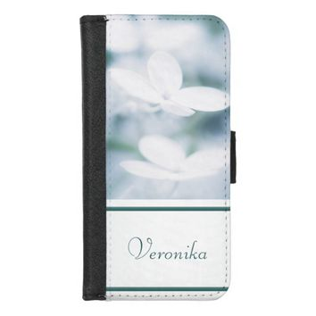 Beautiful white hydrangea blossoms. Add name. iPhone 8/7 Wallet Case